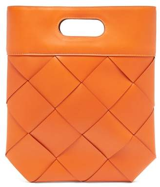 Bottega Veneta Slip Small Intrecciato Leather Tote - Womens - Orange
