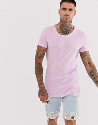Asos Design DESIGN longline t-shirt with scoop neck and curved hem in linen mix in lilac-Purple