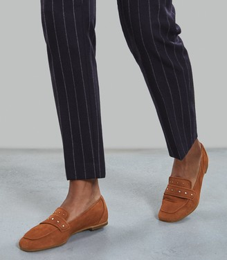 Reiss Elba - Suede Loafers in Tan