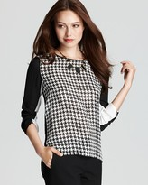 VINCE CAMUTO High Low Color Block Houndstooth Blouse