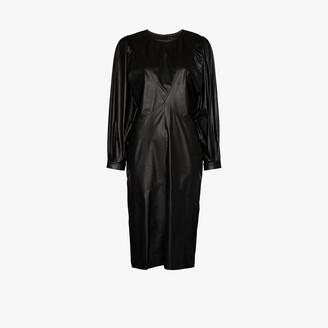 Isabel Marant Pouf Sleeve Faux Leather Midi Dress