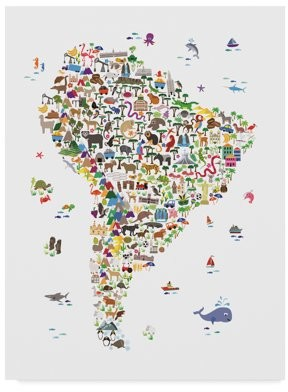 Trademark Fine Art 'Animal Map of South America for children and kids' Canvas Art by Michael Tompsett