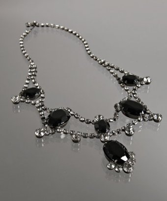 Kenneth Jay Lane jet crystal oval pendant necklace