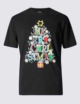 Marks and Spencer Pure Cotton Light Up Xmas T-Shirt