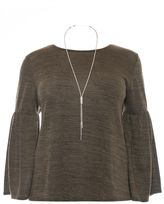 Quiz Curve Khaki Light Knit Frill Sleeve Necklace Top
