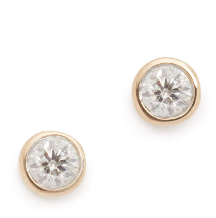 Adina 14k Gold Single Diamond Stud Earrings