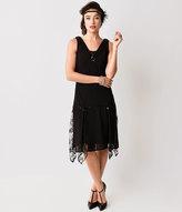 Unique Vintage Black Hemingway Flapper Dress