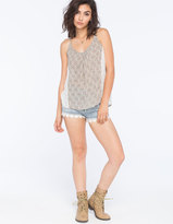 Vanilla Star Crochet Hem Womens High Waisted Denim Shorts