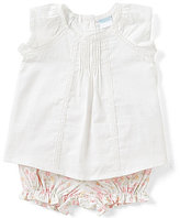 Edgehill Collection Baby Girls Newborn-6 Months Cap-Sleeve Lace-Trim Top & Floral Bloomers Set