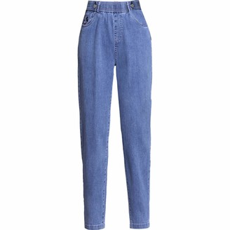 Katenyl Spring and Autumn Women's Jeans Fashion High Waist Personality Versatile Loose Straight Slim Nine-Point Harem Pants X-Large Blue