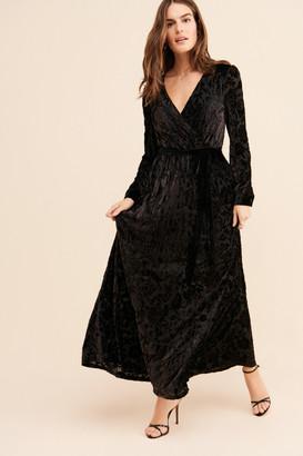 ModCloth Velvet Wrap Maxi Dress