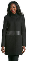 T Tahari Mixed Media Wool Coat With Faux Leather Waist