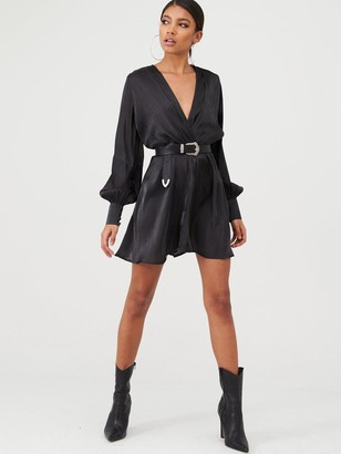 In The Style X Stephsa Satin Drape Front Mini Dress - Black