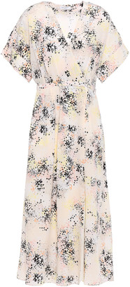 Equipment Pleated Printed Silk-crepe Midi Wrap Dress
