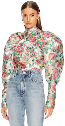 Rotate by Birger Christensen Kim Floral Top in Morning Glory   FWRD
