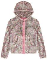 Yumi Fluffy Boucle Hooded Cardigan Pink