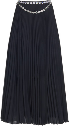 Christopher Kane Crystal Belted Pleated Cady Midi Skirt