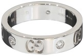 Gucci Icon 18K White Gold 0.05ct. Diamonds Band Ring Size 5
