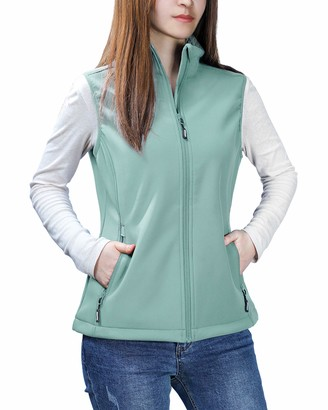 Outdoor Ventures Womens Mia Lightweight Sleeveless Fall Windproof Soft Bonded Fleece Softshell Zip Vest Green
