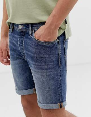 Selected slim denim shorts in mid blue denim