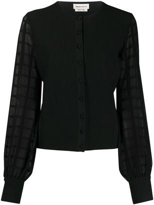 Alexander McQueen Checkered Sheer Sleeves Cardigan