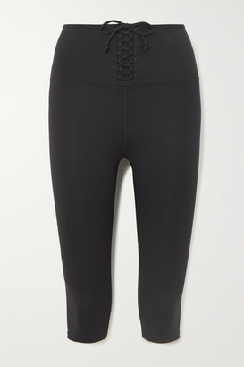 YEAR OF OURS Cameron Cropped Lace-up Stretch Leggings - Black