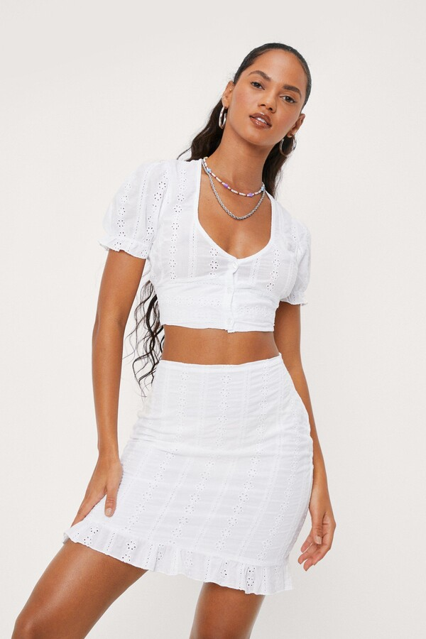 Thumbnail for your product : Nasty Gal Womens Broderie Anglaise Ruffle Hem Mini Skirt - Pink - 12