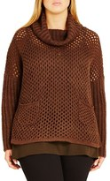 City Chic Open Stitch Cowl Neck Sweater (Plus Size)