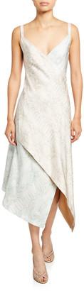 Sies Marjan Multi-Print Silk Midi Cocktail Dress