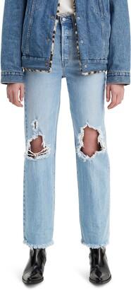 Levi's Ribcage Super High Waist Ripped Straight Leg Jeans
