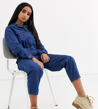 ASOS DESIGN Petite lightweight denim tailored boilersuit in blue