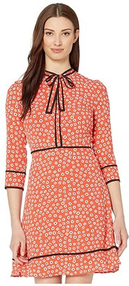 CeCe Long Sleeve Daisy Melody Dress with Bow (Candy Apple) Women's Dress