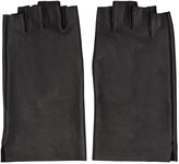 Attachment Black Leather Fingerless Gloves
