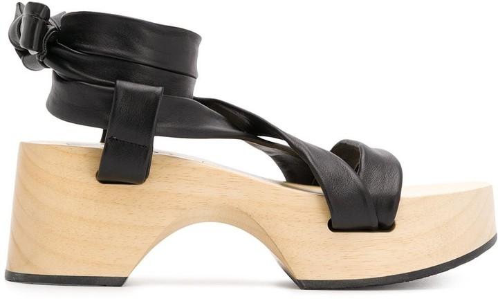 Jil Sander Wrap-Around Wooden Platform Sandals