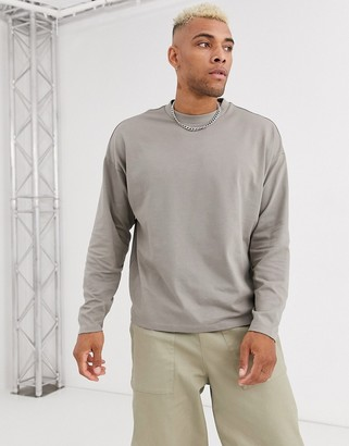 ASOS DESIGN organic oversized long sleeve heavyweight t-shirt in beige