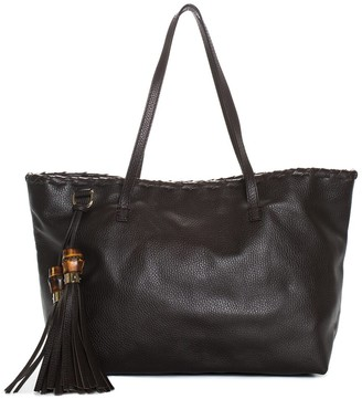 Gucci Brown Leather Bamboo Tassel Tote