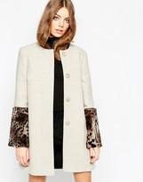 Helene Berman Oyster Coat With Faux Fur Cuff