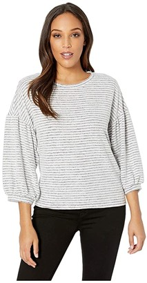 Lucky Brand Stripe Top (Grey/White Stripe) Women's Clothing