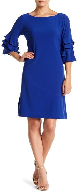 Gabby Skye Tiered Ruffle Sleeve Shift Dress