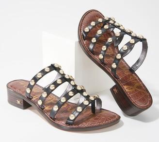 Sam Edelman Studded Heeled Slide Sandals - Juniper
