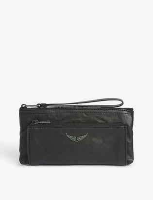 Zadig & Voltaire Metal logo leather clutch