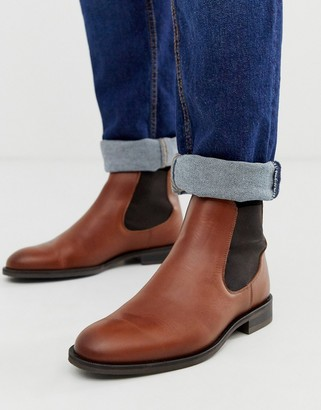Selected leather chelsea boots in tan