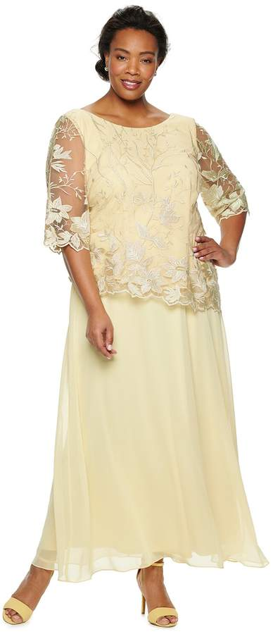 Plus Size Lace-Embroidered Evening Dress