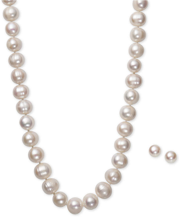 Belle de Mer White Cultured Freshwater Pearl (10-1/2mm) Necklace and Matching Stud (8mm) Earrings Set in Sterling Silver