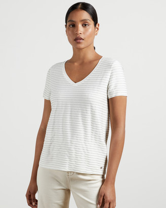 Ted Baker GIIANAI V neck relaxed striped tee