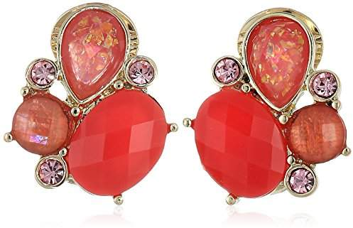 Anne Klein Women's and Pink Multi Stone Cluster Clip On Earrings