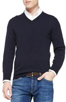 Brunello Cucinelli Cashmere V-Neck Pullover Sweater, Navy