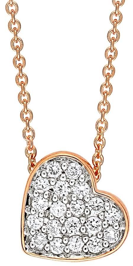 ginette_ny Tiny Diamond Heart Necklace - Rose Gold