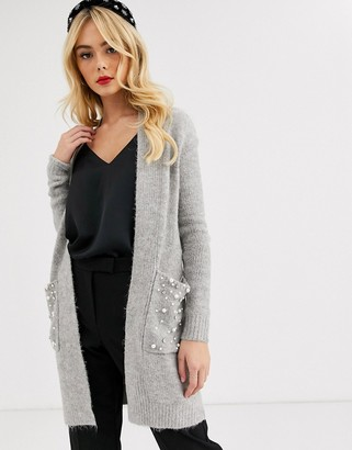 Lipsy pearl pocket long cardigan in grey