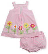 Florence Eiseman Striped Seersucker Flower-Border Dress w/ Bloomers, Size 3-24 Months